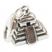Mayan Pyramid 3D Sterling Silver Clip On Charm - With Clasp